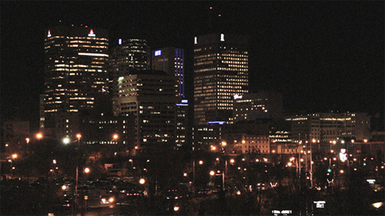 Promotional image and establishing shot of Winnipeg's skyline for Psycho City. Taken by Andrew McCrea.