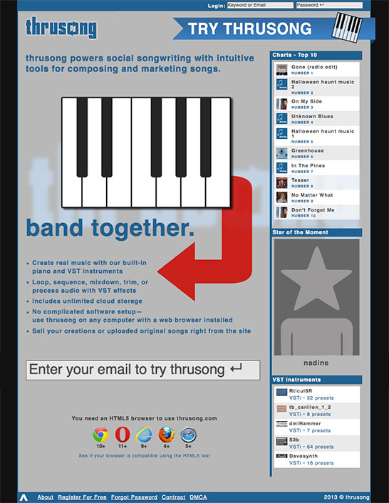 Homepage screenshot of social songwriting website thrusong.com